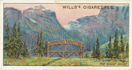 Great Divide. Illustration for one of a series of cigarette cards on the subject of Overseas Dominions, Canada published by Wills's Cigarettes, early 20th century.