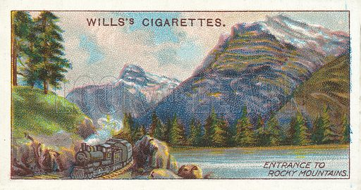 Entrance to Rocky Mountains. Illustration for one of a series of cigarette cards on the subject of Overseas Dominions, Canada published by Wills's Cigarettes, early 20th century.