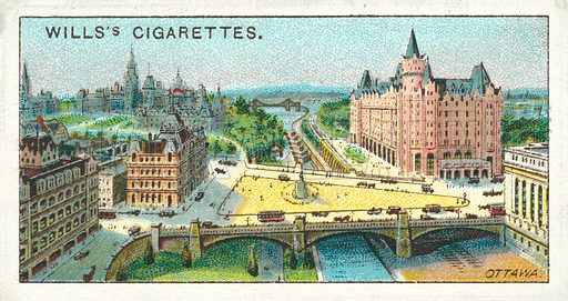 Ottawa. Illustration for one of a series of cigarette cards on the subject of Overseas Dominions, Canada published by Wills's Cigarettes, early 20th century.