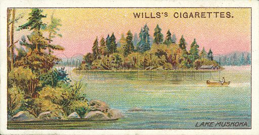 Lake Muskoka. Illustration for one of a series of cigarette cards on the subject of Overseas Dominions, Canada published by Wills's Cigarettes, early 20th century.
