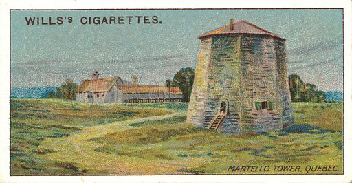 Martello Tower, Quebec. Illustration for one of a series of cigarette cards on the subject of Overseas Dominions, Canada published by Wills's Cigarettes, early 20th century.