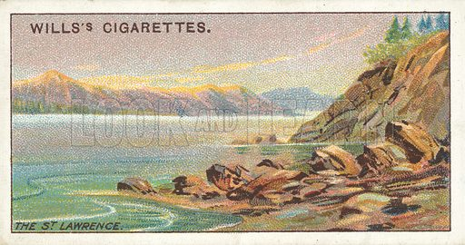 The St Lawrence. Illustration for one of a series of cigarette cards on the subject of Overseas Dominions, Canada published by Wills's Cigarettes, early 20th century.