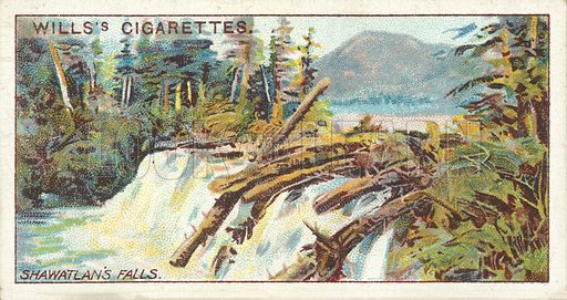 Shawatlan's Lake and Falls. Illustration for one of a series of cigarette cards on the subject of Overseas Dominions, Canada published by Wills's Cigarettes, early 20th century.