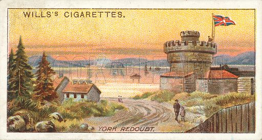York Redoubt, Halifax. Illustration for one of a series of cigarette cards on the subject of Overseas Dominions, Canada published by Wills's Cigarettes, early 20th century.