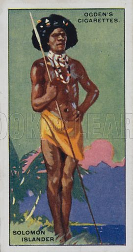 Solomon Islander. Illustration for one of a set of cigarette cards on the subject of Picturesque People of the Empire, published by Ogden's, early 20th century.
