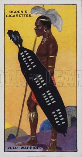 Zulu Warrior. Illustration for one of a set of cigarette cards on the subject of Picturesque People of the Empire, published by Ogden's, early 20th century.