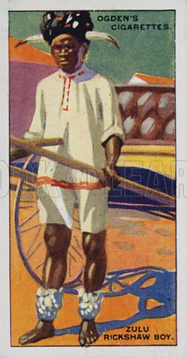 Zulu Rickshaw Boy. Illustration for one of a set of cigarette cards on the subject of Picturesque People of the Empire, published by Ogden's, early 20th century.