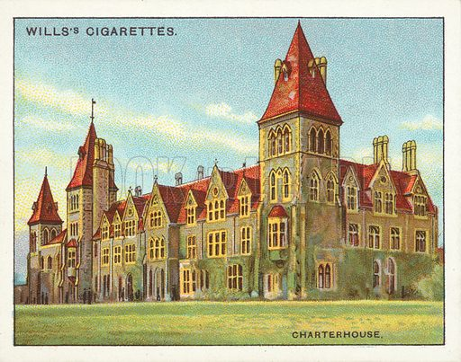 Charterhouse, Deo Dante Dedi. Illustration for one of a series of cigarette cards on the subject of Public Schools published by Wills's Cigarettes, early 20th century.