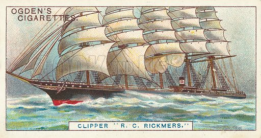 Clipper R C Rickmers, The Largest Sailing Ship Afloat. Illustration for one of a series of cigarette cards on the subject of Records of the World, published by Ogden's Cigarettes, early 20th century.