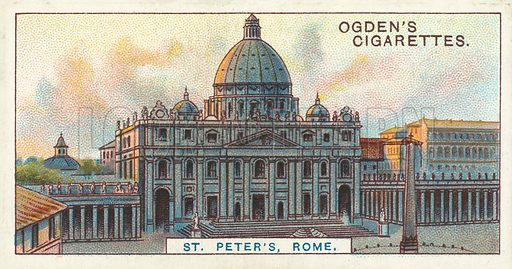 St Peter's, Rome, The Largest Cathedral in the World. Illustration for one of a series of cigarette cards on the subject of Records of the World, published by Ogden's Cigarettes, early 20th century.