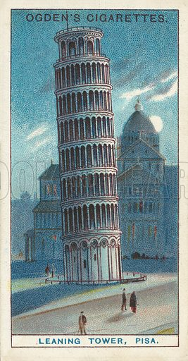 Leaning Tower, Pisa, The Most Celebrated Tower in the World. Illustration for one of a series of cigarette cards on the subject of Records of the World, published by Ogden's Cigarettes, early 20th century.