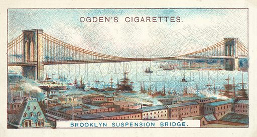 Brooklyn Suspension Bridge, The Largest Suspension Bridge in the World. Illustration for one of a series of cigarette cards on the subject of Records of the World, published by Ogden's Cigarettes, early 20th century.