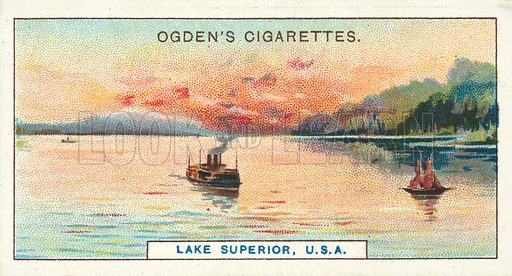 Lake Superior, USA, The Largest Lake in the World. Illustration for one of a series of cigarette cards on the subject of Records of the World, published by Ogden's Cigarettes, early 20th century.