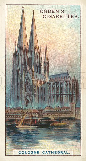 Cologne Cathedral, The Most Celebrated Spires in the World. Illustration for one of a series of cigarette cards on the subject of Records of the World, published by Ogden's Cigarettes, early 20th century.