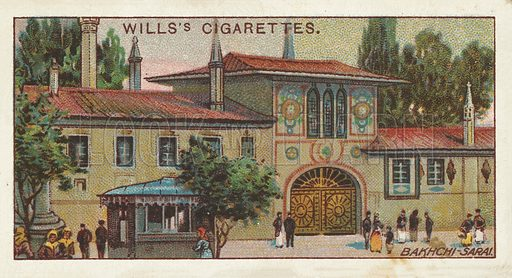 Khan-sarai, Bakhchi-sarai. Illustration for one of a series of cigarette cards on the subject of Gems of Russian Architecture published by Wills's Cigarettes, early 20th century.