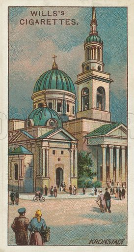 St Andrew's Cathedral, Kronstadt. Illustration for one of a series of cigarette cards on the subject of Gems of Russian Architecture published by Wills's Cigarettes, early 20th century.