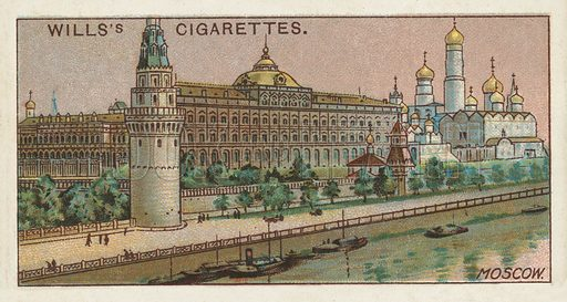 Kremlin, Moscow. Illustration for one of a series of cigarette cards on the subject of Gems of Russian Architecture published by Wills's Cigarettes, early 20th century.