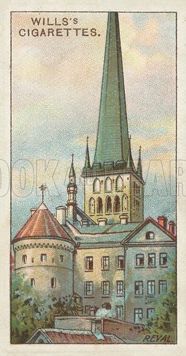 St Olai Church, Reval. Illustration for one of a series of cigarette cards on the subject of Gems of Russian Architecture published by Wills's Cigarettes, early 20th century.