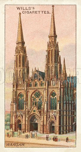 Church of SS Florian and Michael, Warsaw. Illustration for one of a series of cigarette cards on the subject of Gems of Russian Architecture published by Wills's Cigarettes, early 20th century.