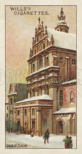 Church of the Piarist Fathers, Warsaw. Illustration for one of a series of cigarette cards on the subject of Gems of Russian Architecture published by Wills's Cigarettes, early 20th century.
