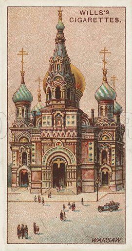 Greek Orthodox Church, Warsaw. Illustration for one of a series of cigarette cards on the subject of Gems of Russian Architecture published by Wills's Cigarettes, early 20th century.