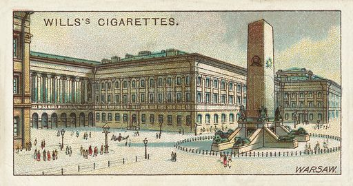 Saxon Palace, Warsaw. Illustration for one of a series of cigarette cards on the subject of Gems of Russian Architecture published by Wills's Cigarettes, early 20th century.