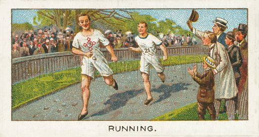 Running. Illustration for one of a series of cigarette cards on the subject of Sport published by Turf Cigarettes, early 20th century.