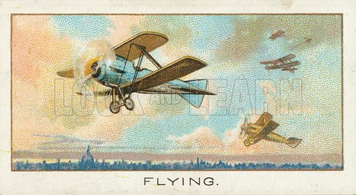 Flying. Illustration for one of a series of cigarette cards on the subject of Sport published by Turf Cigarettes, early 20th century.