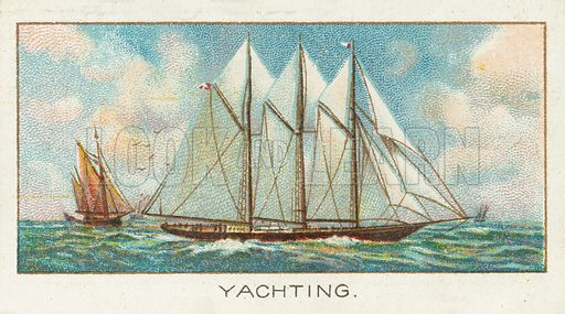 Yachting. Illustration for one of a series of cigarette cards on the subject of Sport published by Turf Cigarettes, early 20th century.