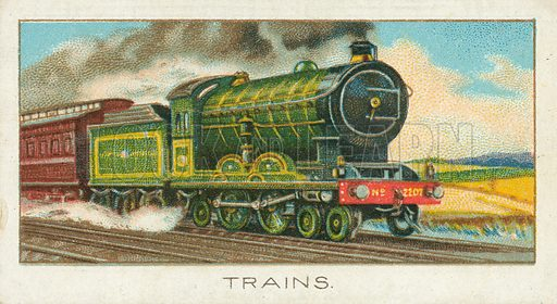 Trains. Illustration for one of a series of cigarette cards on the subject of Sport published by Turf Cigarettes, early 20th century.