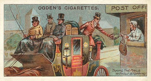 Taking up Mail Bags without Stopping. Illustration for one of a series of cigarette cards on the subject of the Royal Mail, published by Ogden's Cigarettes, early 20th century.