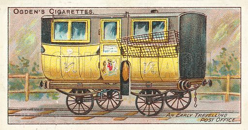 An Early Travelling Post Office. Illustration for one of a series of cigarette cards on the subject of the Royal Mail, published by Ogden's Cigarettes, early 20th century.
