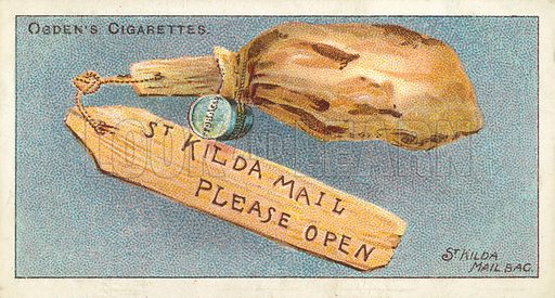 The St Kilda Mail Bag. Illustration for one of a series of cigarette cards on the subject of the Royal Mail, published by Ogden's Cigarettes, early 20th century.