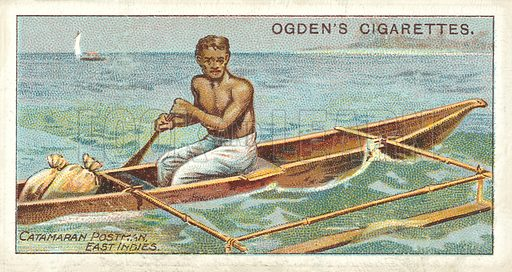 Postman with Catamaran. Illustration for one of a series of cigarette cards on the subject of the Royal Mail, published by Ogden's Cigarettes, early 20th century.