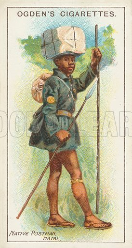 Native Postman, Natal. Illustration for one of a series of cigarette cards on the subject of the Royal Mail, published by Ogden's Cigarettes, early 20th century.