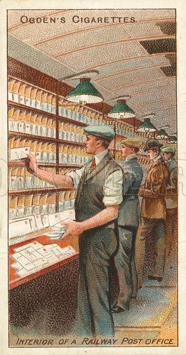 Interior of a Railway Post Office. Illustration for one of a series of cigarette cards on the subject of the Royal Mail, published by Ogden's Cigarettes, early 20th century.