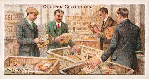 Sub-sorting Mail Parcels. Illustration for one of a series of cigarette cards on the subject of the Royal Mail, published by Ogden's Cigarettes, early 20th century.