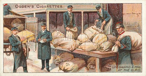 Unloading a Mail at the GPO. Illustration for one of a series of cigarette cards on the subject of the Royal Mail, published by Ogden's Cigarettes, early 20th century.