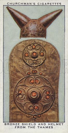 Bronze shield and helmet from the Thames. Illustration for one of a set of cigarette cards on the subject of Treasure Trove, published by Churchman, early 20th century.