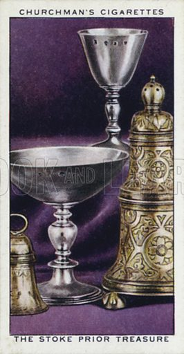 The Stoke Prior treasure. Illustration for one of a set of cigarette cards on the subject of Treasure Trove, published by Churchman, early 20th century.