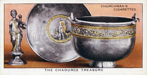 The Chaource treasure. Illustration for one of a set of cigarette cards on the subject of Treasure Trove, published by Churchman, early 20th century.