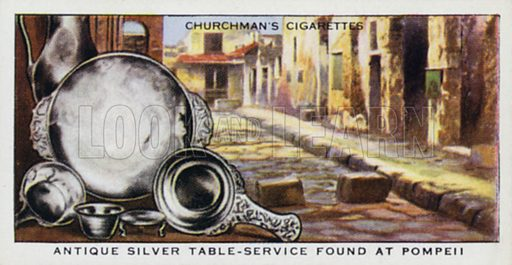 Antique silver table-service found at Pompeii. Illustration for one of a set of cigarette cards on the subject of Treasure Trove, published by Churchman, early 20th century.