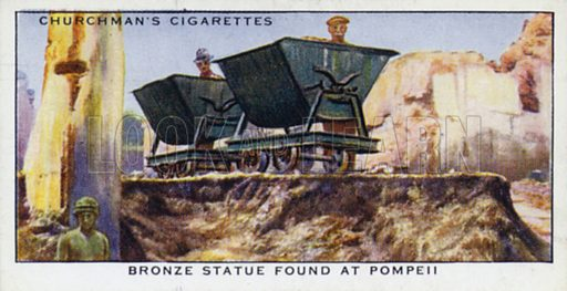 Bronze statue found at Pompeii. Illustration for one of a set of cigarette cards on the subject of Treasure Trove, published by Churchman, early 20th century.