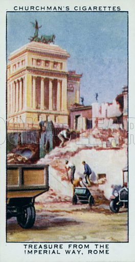 Treasure from the Imperial Way, Rome. Illustration for one of a set of cigarette cards on the subject of Treasure Trove, published by Churchman, early 20th century.
