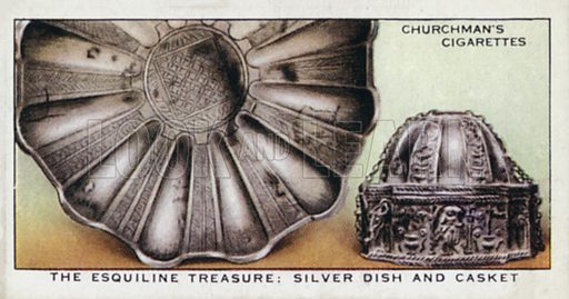 The Esquiline treasure, silver dish and casket. Illustration for one of a set of cigarette cards on the subject of Treasure Trove, published by Churchman, early 20th century.