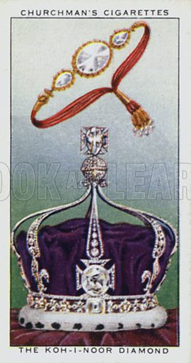 The Koh-i-noor diamond. Illustration for one of a set of cigarette cards on the subject of Treasure Trove, published by Churchman, early 20th century.