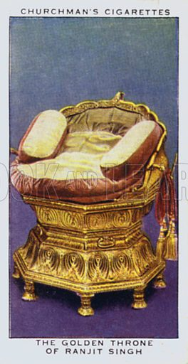 The golden throne of Ranjit Singh. Illustration for one of a set of cigarette cards on the subject of Treasure Trove, published by Churchman, early 20th century.