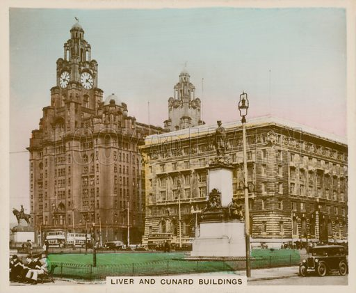 Liver and Cunard Buildings. Illustration for one of a series of cigarette cards entitled Views of Interest, published by R & J Hill, early 20th century.