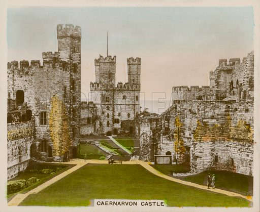 Caernarvon Castle. Illustration for one of a series of cigarette cards entitled Views of Interest, published by R & J Hill, early 20th century.