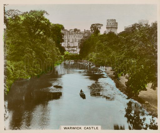 Warwick Castle. Illustration for one of a series of cigarette cards entitled Views of Interest, published by R & J Hill, early 20th century.